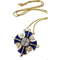 Silver 925 Opens Jerusalem Cross Plated 18k Gold Pendant Necklace with Crystallized Elements 1.4
