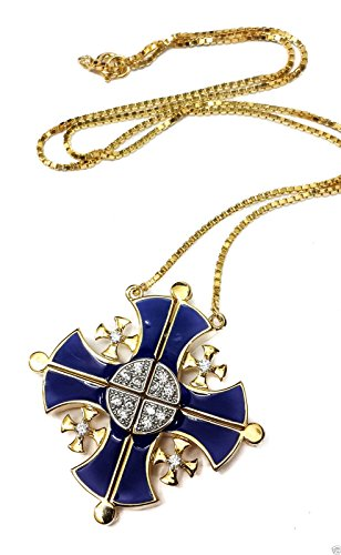 Silver 925 Opens Jerusalem Cross Plated 18k Gold Pendant Necklace with Crystallized Elements 1.4'' by Nazareth Store