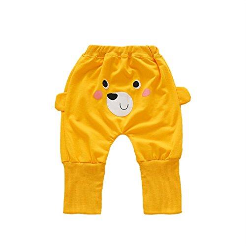 Omiky® Neugeborene Kleinkind-Hose scherzt nette Karikatur-Druck-Baby-Mädchen-Jungen-Harem-Hosen Gelb