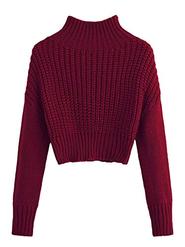 SweatyRocks Women's Drop Shoulder Mock Neck Pullover Sweater Long Sleeve Basic Crop Sweaters Burgundy S