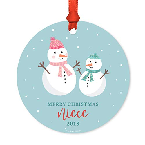 Andaz Press Family Metal Christmas Ornament, Merry Christmas Niece 2019, Holiday Snowman Family, 1-Pack, Includes Ribbon and Gift Bag