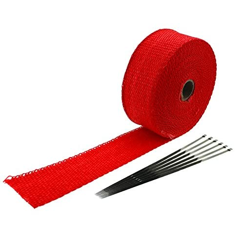 """Ambuker 2"""" x 32.8' red Exhaust Heat Wrap Roll for Motorcycle Fiberglass Heat Shield Tape with 6 Stainless Ties supplier"""