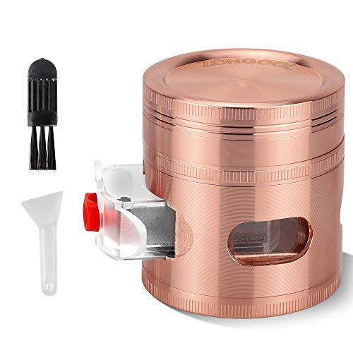 "ZONGOOL Herb Grinder Zinc Alloy Metal Manual Spice Grinder with Drawer/Scrapers/Brush 4 Piece 2.5"" Grinder, Rose Gold/Golden Pink"
