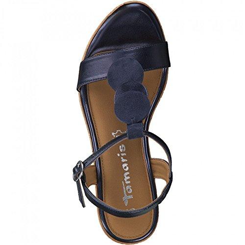 Tamaris 28363, Sandalias con Tira Vertical Para Mujer Azul (Navy Metallic)