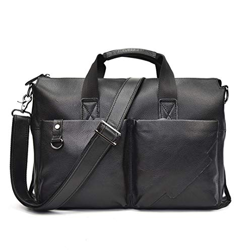 (Crazy Horse Leather Men Bag Classcal Style Laptop H Black Briefcases With Shoulder Strap Male Work Tote Office Bag)