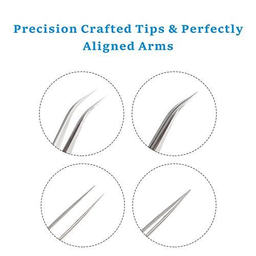 Best Tweezers for Eyelash Extension - Straight and Curved Pointed Tweezers - Professional Stainless Steel Precision Tweezers set - 2 Pcs - Silver - by Nipoo by Nipoo (Image #4)