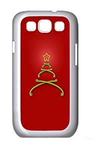 Stitched Christmas Tree Red Background Custom Hard Back Case Samsung Galaxy S3 SIII I9300 Case Cover - Polycarbonate - White