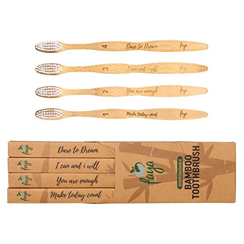 Faya Eco Friendly Bamboo Toothbrush | 0.15mm Soft Bristles, Ergonomic Wooden Toothbrushes Head | Numbered, Natural, BPA Free w/Motivational Quotes | Biodegradable Travel Set for Adults and Kids