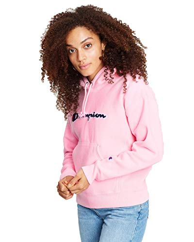 Champion Reverse Weave Pullover Hoodie with Chenille Script Logo-Pink Candy_M