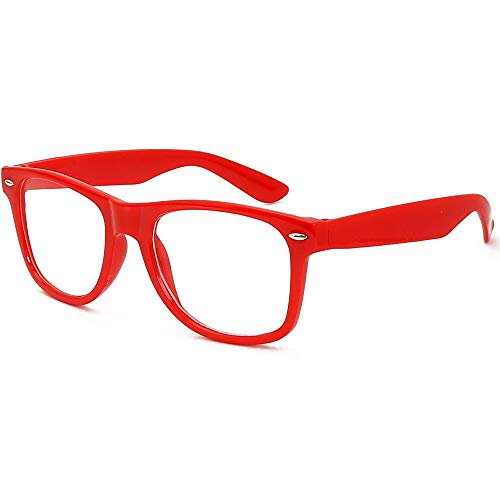 Skeleteen Red Clear Lens Glasses - 80's Style Non Prescription Retro Frames Nerd Costume Eyeglasses