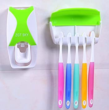 JVJ Dispensador Automático de Pasta / Automatic Toothpaste Dispenser+ cepillo de dientes Toothbrush Holder--VERDE: Amazon.es: Electrónica