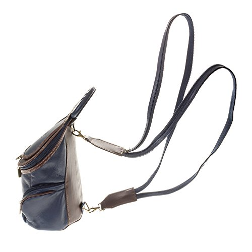 FIRENZE ARTEGIANI.Mochila de mujer casual piel auténtica.Mochila bolso grande cuero genuino Savage tacto suave y acabados de lujo. MADE IN ITALY. VERA PELLE ITALIANA. 32x35x17 cm. Color: TURQUESA AZUL MARINO