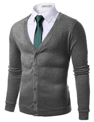 Doublju Mens Classic Button Down Comfortable V-Neck Cardigan Gray,(US S) ()