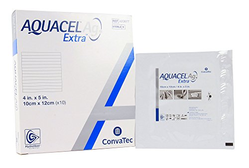 New and Improved AQUACEL AG EXTRA 4'' x 5'' (Box of 10 dressings) by Aquacel