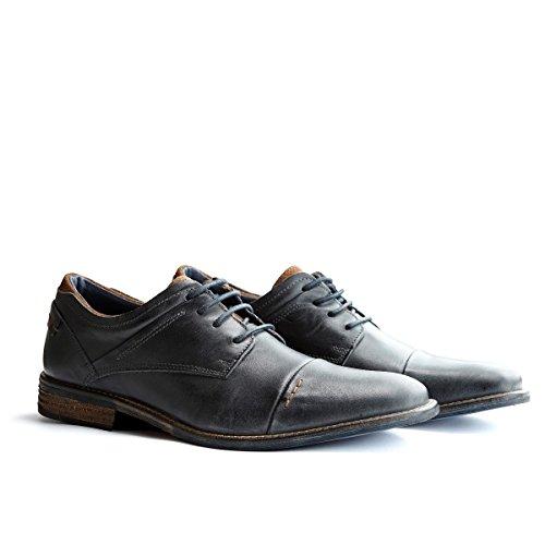 Travelin Downtown Low Modische Derby Schnürhalbschuhe Herren | Freizeitschuhe | Business Schuhe Anzugschuhe | Leder Blau & Cognac Blau