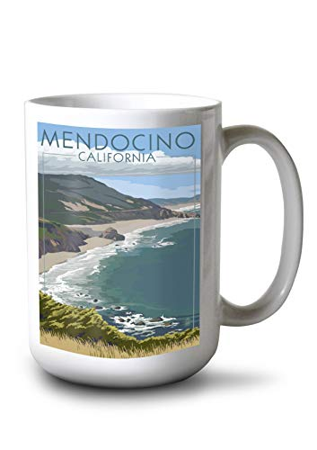 Lantern Press Mendocino, California - Coast Scene 96990 (15oz White Ceramic Mug)