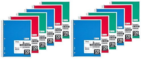 Mead Spiral Notebook, 3 Subject, College Ruled, 120 Sheets, 11'' x 8.5'', Assorted Colors, 12 Pack