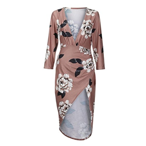 Full Neck Slim Print Dress Bohemian Autumn Coffee Show Women Floral G Sleeve Casual Long V Figure Bodycon Tian Autumn Sleeve Winter aOxBxw