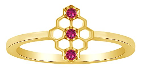 AFFY Round Shape Simulated Ruby Mini Honeycomb Pattern Promise Ring in 925 Sterling Silver,Ring Size-13.5
