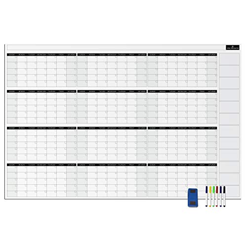 Yearly Dry Erase Wall Calendar - JTSC Products Jumbo 38x58in Annual Planner for Home, School and Office - Reusable Laminated Nano Premium PET Film -Bonus 6 Markers, Dry Eraser, Thumb ()