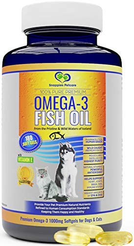 Omega 3 Fish Oil For Dogs and Cats – Wild Icelandic Natural Odour Free Fish Oil Supplement with Vitamin E, 180 Softgels, 1000mg per capsule, Contains More EPA DHA than Salmon Oil for Optimal Health
