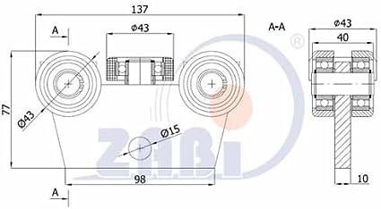 ZAB de S unidad carro unidad rollo Perfil Dimensiones: 50 x 50 x 3 ...