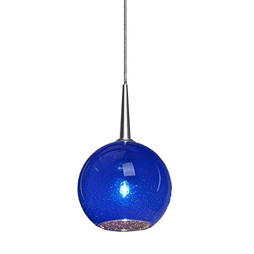 Bruck Lighting Bobo 1 Low Voltage 4-inch Canopy Matte Chrome Pendant with Blue Bubble Glass Shade - Bobo One Light Pendant
