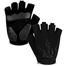 MOREOK Shock-Absorbing Breathable Biking Cycling Gloves Half Finger Outdoor Sport Bicycle Gloves Mountain Road Bike…