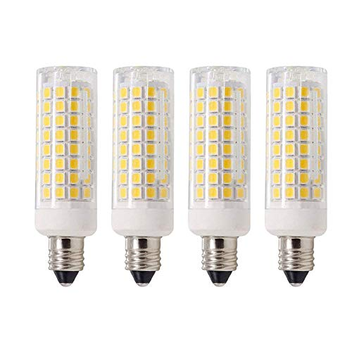 MD Lighting 10W E11 Mini Ceramic Corn Light Bulbs (4 Pack)- 102 Leds 2835 SMD 1000lm Warm White 3000K JDE11 COB Lamp 70W Equivalent 360 Degree for Chandeliers, Sconce, Cabinet Lighting, Dimmable, 120V