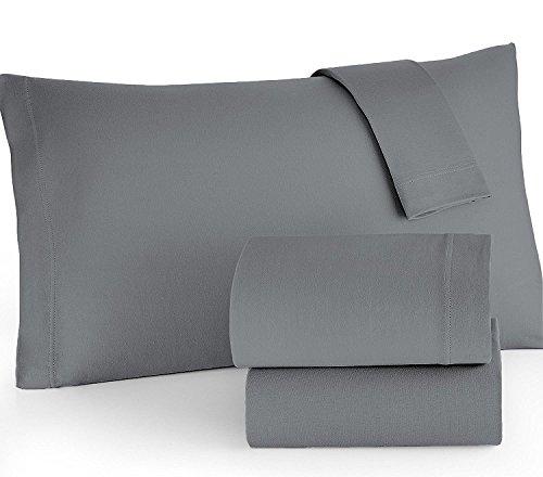 Homefair Linen Bedsheet 500 Thread Count 100% Cotton Sateen weave Queen Sheet Set, 4 Piece Bedding Set, Elastic 16 inch Deep Pocket, Edge Hemstitch, Grey by Homefair Linens