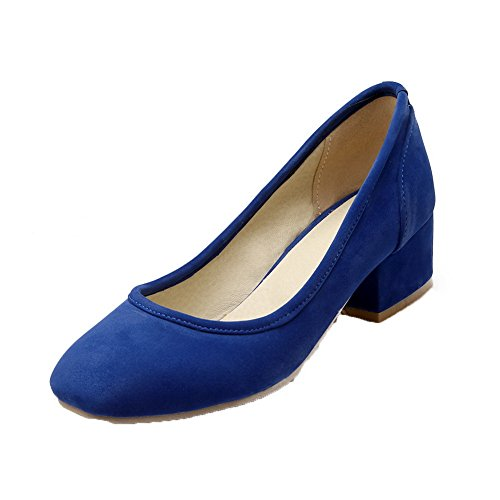 Imitated Shoes Pumps Heels Closed Low Women's Pull WeenFashion Toe on Blue Suede vwZtzWB
