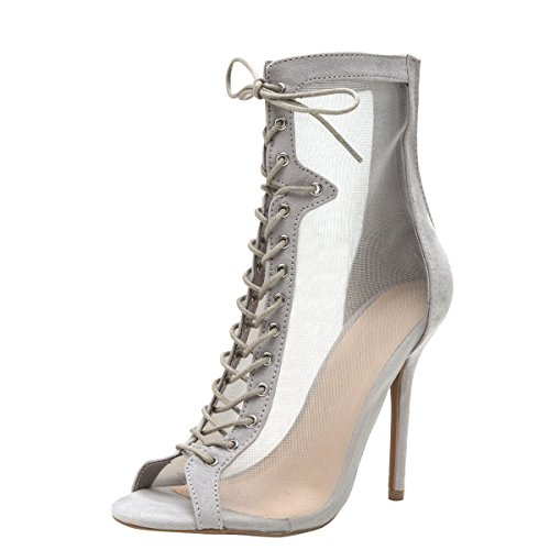 Wild Diva Womens Open Peep Toe Sheer Mesh Stiletto High Heel Lace Up Ankle Booties Boot 8 Gray