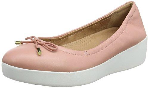 Superbendy color punta con Ballet Ballerinas Pink cerrada Fitflop oscuro rosa Bailarinas 18q5aa