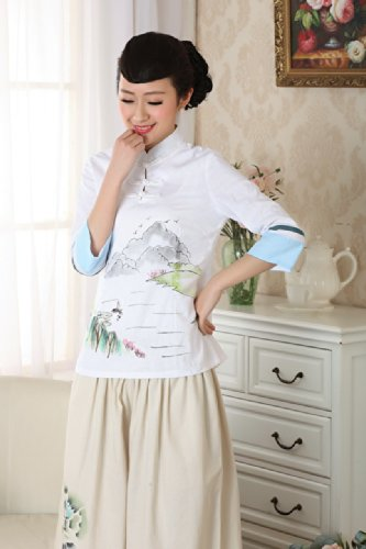 YueLian Camicetta Bianco Donna Elegante Polsini Blu