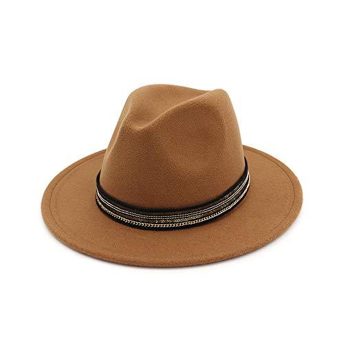 Wool Felt Flowers Church Bowler Hats Vintage Women Warm Hats Hat Woolen Jazz Top Hat Retro Straight Side Big Hat Brown