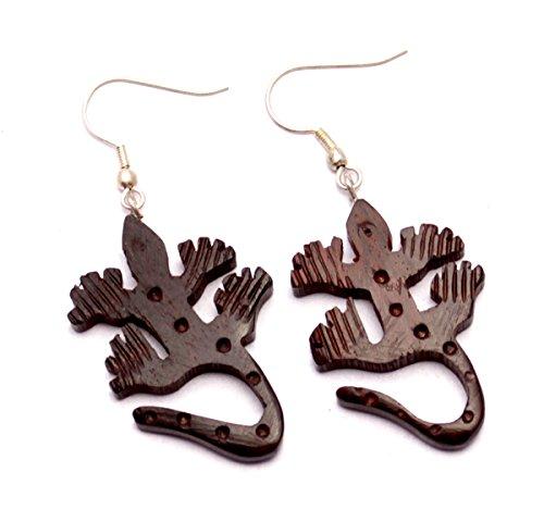 [A Pair of Coco Wood Wooden Lizard Shape Boho Hippie Earrings Sew_324] (Fancy Dress Krishna Costume)