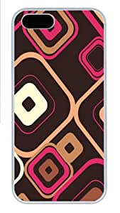 Apple iPhone 5S Case and Cover - Retro Squares Hard Plastic Case for iPhone 5/5S - White