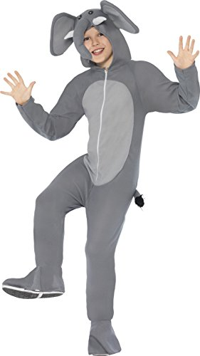 [Smiffy's  Children's Unisex All In One Elephant Costume, Jumpsuit with Ears, Trunk and Tail, Party Animals, Ages 4-6, Size: Small, Color: Grey,] (Elephant Costume 4 Year Old)