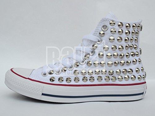 Converse all star Borchie borchiate teschi bianco optical white( prodotto artigianale )