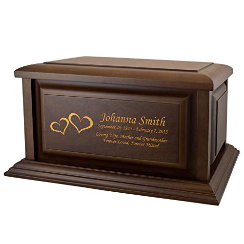 Perfect Memorials Custom Engraved Large Traditional Walnut Wood Cremation Urn ()