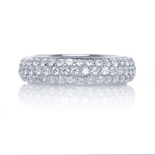 Verona Jewelers Womens 925 Sterling Silver Round Cut Cz Eternity Band- CZ Eternity Bands for Women Wedding Band (8)