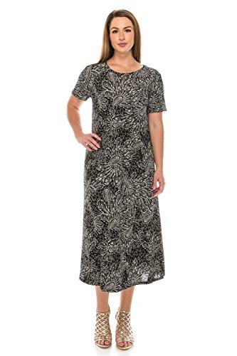 Black Women's W096 Long Short Stretchy Sleeve Jostar Dress Print qg8zZgwT