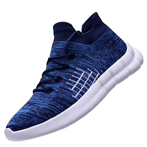 - KONHILL Men's Lightweight Athletic Shoes - Comfort Casual Running Walking Tennis High Top Sneakers, Dark Blue, 42