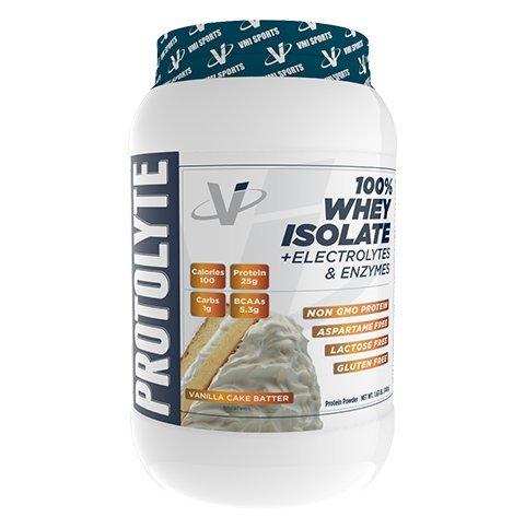 VMI Sports ProtoLyte 100% Whey Isolate Protein Powder, Vanilla Cake Batter, Zero Sugar with added Electrolytes & Enzymes, (Essential Protein Vanilla Cake)