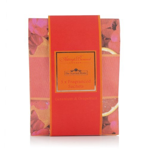 Ashleigh Burwood Scented Sachet - GERANIUM & GRAPEFRUIT. Suitable for Cars, Drawers, Wardrobes etc. Safe flame free constant scenting. by Ashleigh & Burwood by Ashleigh & Burwood