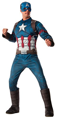 America Boot Covers (UHC Men's Captain America Winter Soldier Muscle Outfit Halloween Costume, XL (44-50))