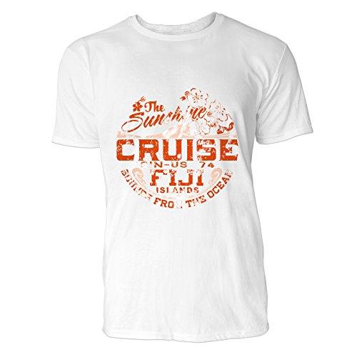 SINUS ART® Sunshine Cruise Fiji Islands Retro Vintage Herren T-Shirts in Weiss Fun Shirt mit tollen Aufdruck