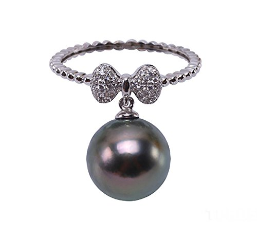 Green Pearl Sea South Round (JYX 14k Gold 11mm Peacock Green Round South Sea Tahitian Cultured Pearl Ring)