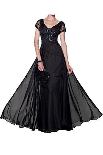 A Formalkleider Festlichkleider Kurzarm Abendkleider Brautmutterkleider Charmant Damen Schwarz Formalkleider Linie Grau Oaqw7O0C