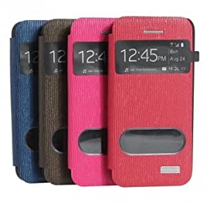 Caller ID Open Window Flip Leather Case For iPhone 5 5S --- Color:Blue
